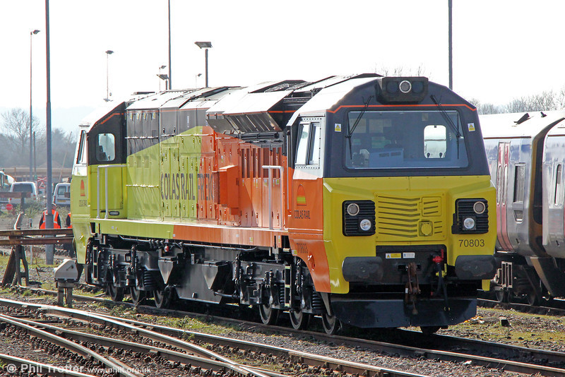 Colas Rail's brand new 70803 stabled at Westbury on 8th March 2014.