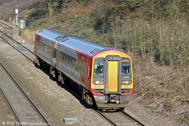 On-hire SWT 1587881 passes Haresfield forming FGW's 2B94, 1320 Cheltenham Spa to Swindon on 17th January 2014.