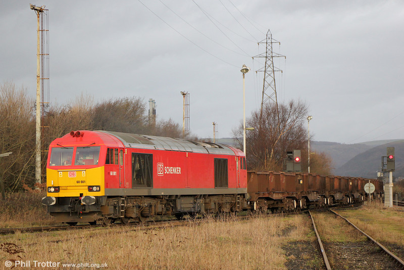 The pioneer 'Tug': 60001 pulls into Margam Knuckle Yard with 6B03, 0910 from Trostre on 18th January 2014.