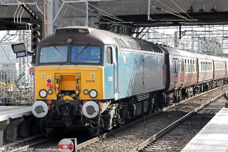 57316 at Stafford bringing up the rear of the Statesman Rail rake, forming 5Z86, 0842 Carnforth to Banbury on 16th October 2014.