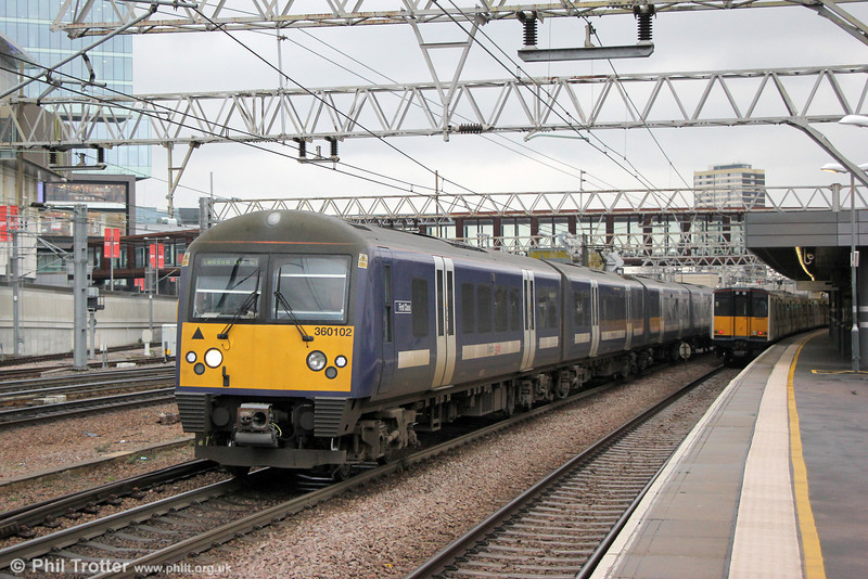 360102 at Stratford forming 1Y37, 1052 Ipswich to London Liverpool Street on 31st January 2014.