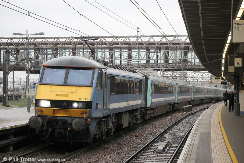 90011 'Let's Go East of England' calls at Stratford with 1P35, 1200 Norwich to London Liverpool Street on 31st January 2014.