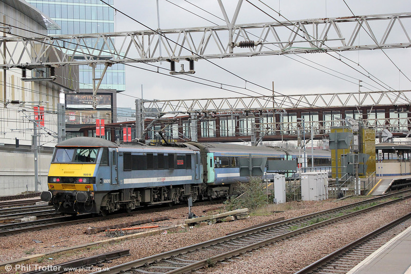 90010 'Bressingham Steam & Gardens' propels 1P26, 1200 London Liverpool Street to Norwich into Stratford on 31st January 2014.