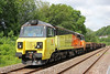 Colas 70804 waits at Risca with an engineers' train on 1st June 2014. This was 6C24, 1024 (previous day) from Westbury.