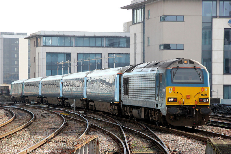 67002 approaches Cardiff Central with 1V91, 0533 from Holyhead on 5th March 2014.