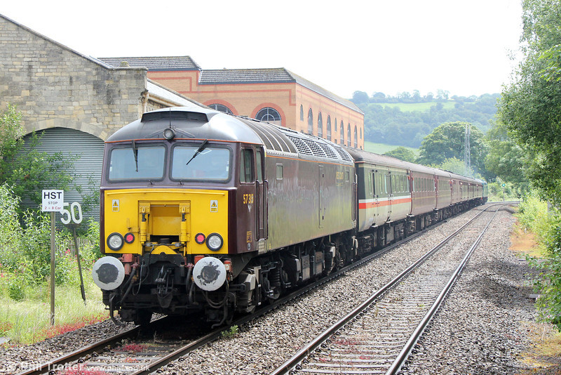 WCRC 57315 at Stoud, bringing up the rear of The Class Forty Preservation Society's 1Z40, 0639 Castleon to Oxford, 'The East Lancs Stalwart' on 7th June 2014.