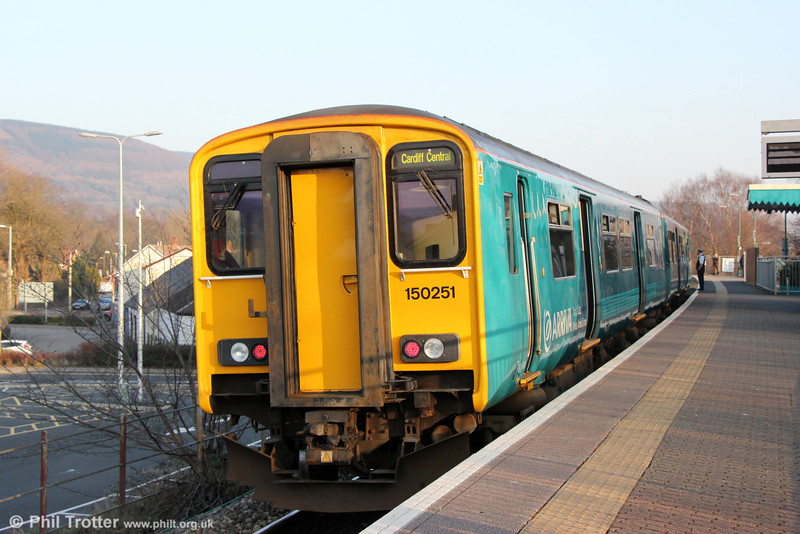 150251 waits to depart from Aberdare forming 2F30, 1454 to Cardiff Central on 9th March 2014.