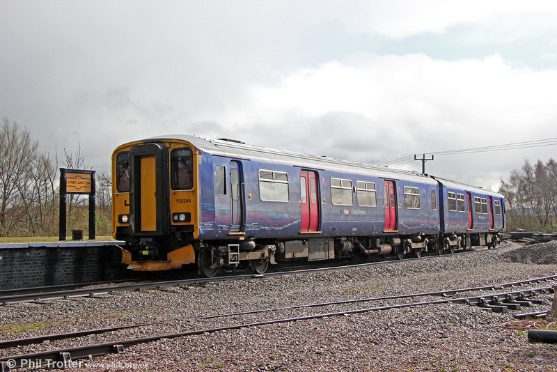On 22nd March 2014, a direct service ran onto the Dean Forest Railway using a FGW class 150. 150244 is seen at Lydney Junction forming 2Z11, 1000 Gloucester to Parkend.