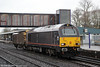 Wonder what's in the ferryvan? 67005 'Queen's Messenger', appropriately on a military-related working, passes Oxford with 6A49, 1210 Didcot to Bicester Central Ordnance Depot on 29th January 2014,