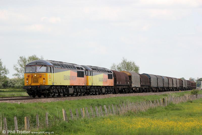 56078 and 56113 at Shrivenham with 6V62, 1100 Tilbury Riverside to Llanwern on 17th May 2015.