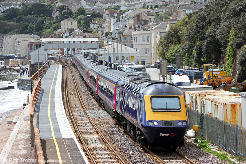 43179 'Pride of Laira' passes Dawlish with 1A85, 1058 Penzance to London Paddington  on 10th May 2014. The section of the platform which was rebuilt following the February storm can easily be identified.