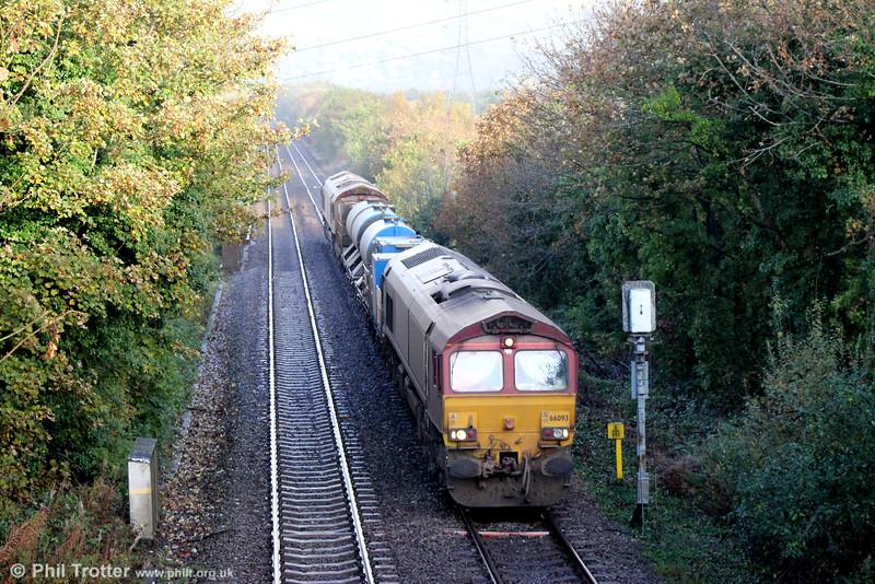 66093 at Felin Fran with Margam RHTT 3S61on 17th October 2014. 66150 was at the rear.