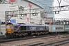 GBRf 66726 'Sheffield Wednesday' at Stratford with 4M23, 1045 Felixstowe to Hams Hall on 31st January 2014.