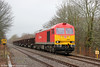 60001 passes Glanlliw with 6B16, 1536 Trostre Works to Margam on 18th January 2014.