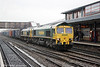66517 and 66569 at Oxford with 4O49, 0922 Crewe Basford Hall to Southampton Maritime on 29th January 2014.