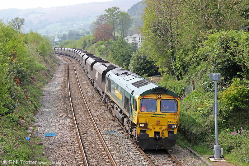 66524 at Llanfihangel with 6M64, 0825 Portbury to Fiddlers Ferry PS on 28th April 2014.