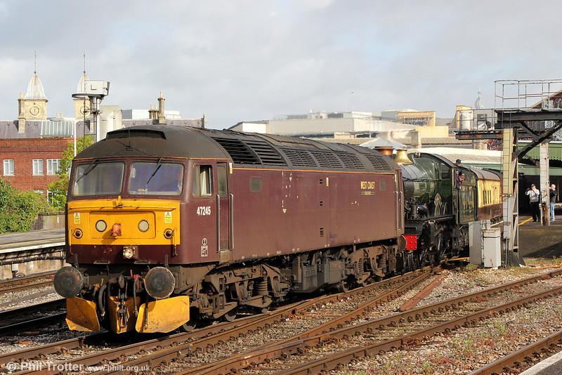 47245 at Bristol Temple Meads with 5Z80, 0552 Southall to Bristol St. Philips Marsh on 26th April 2014. The loco was 'delivering' Castle class 4-6-0 no. 5029 'Nunney Castle' and Stanier 5MT 4-6-0 no. 44932 to the area for their roles in the 'Great Britain VII' series of railtours.