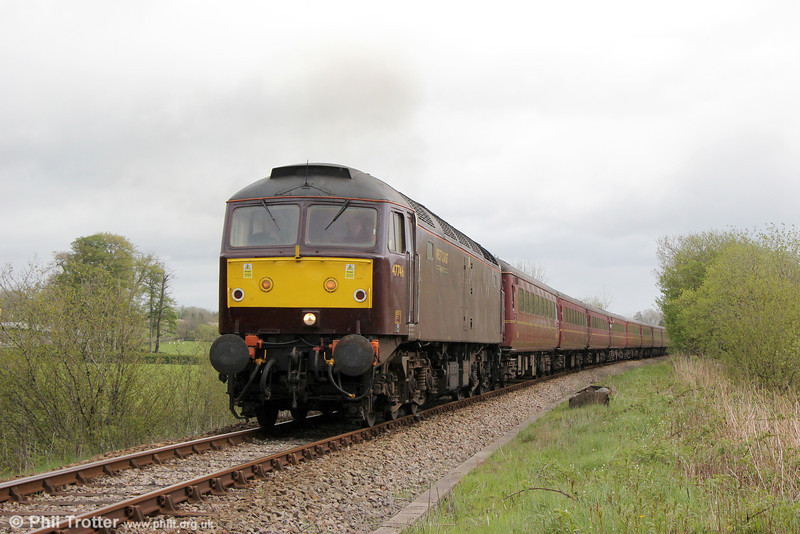 WCRC 47746 at Erwbeili with Compass Tours 1Z47, 0527 Darlington to Cardiff Central, 'The Heart of Wales Scenic Rambler' on 7th May 2014.