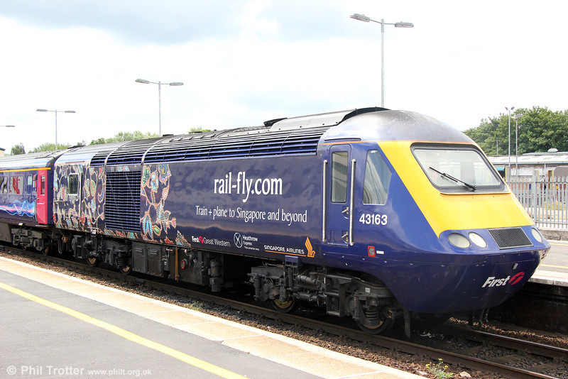 Detail of Rail-Fly/Singapore Airlines liveried 43163 at Exeter St. Davids with 1A83, 0954 Penzance to London Paddington on 14th June 2014.