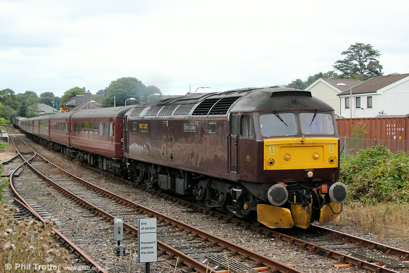 47854 'Diamond Jubilee' departs from Llandovery with Compass Tours 1Z56, 0540 Grantham to Cardiff Central, ' The Heart of Wales Scenic Rambler' on 16th August 2014. Classmate 47786 'Roy Castle OBE' was at the rear.