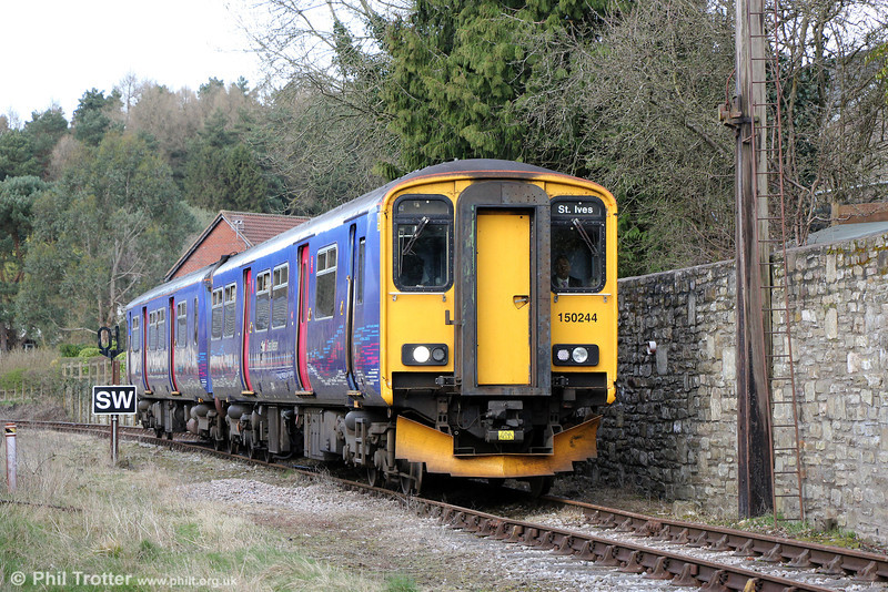 FGW 150244 approaches Whitecroft, DFR, forming the 1445 Parkend to Lydney Junction on 22nd March 2014.