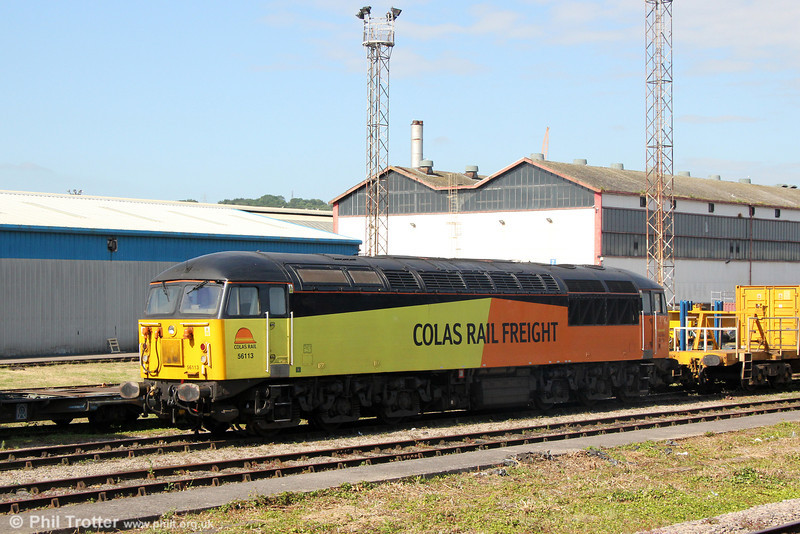 Colas 56113 stabled at a splendidly weed-free Cardiff Canton on 14th June 2014.