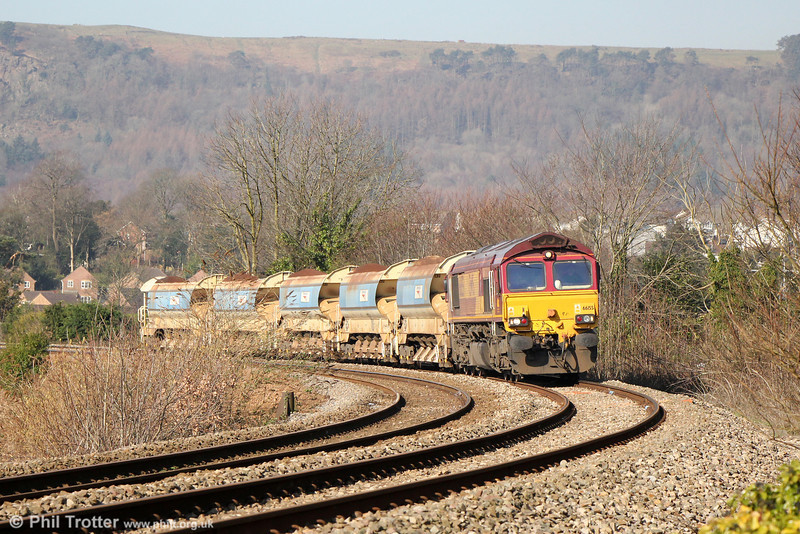 66155 approaches Neath with 6W01, 0950 Carmarthen Bridge to Westbury on 9th March 2014.