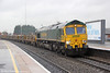 66546 at Banbury with 4XXX, 1049 Eastleigh to Washwood Heath on 29th January 2014.