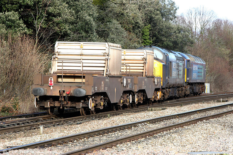 DRS 57003 and 37194 enter Haresfield Loop with 6M56, 1341 Berkeley Power Station to Crewe nuclear nlasks on 17th January 2014.