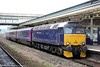 57605 'Totnes Castle' at Exeter St. Davids with 2E75, 1125 Par to Exeter summer Saturday relief on 14th June 2014.