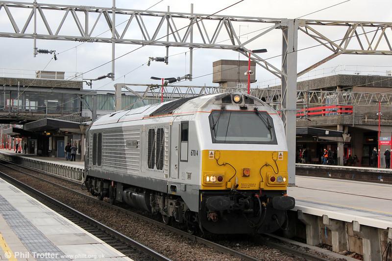 67014 'Thomas Telford' runs light through Stafford as 0A06, 1335 Crewe TMD to Wembley on 28th January 2014.