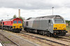 66001 and 67012 (formerly Wrexham & Shropshire's 'A Shropshire Lad') stabled at Didcot Parkway on 1st August 2015.