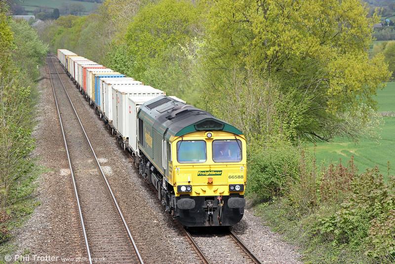 66588 passes Llanover with 4V64, 1108 Crewe Basford Hall to Wentloog on 25th April 2015.