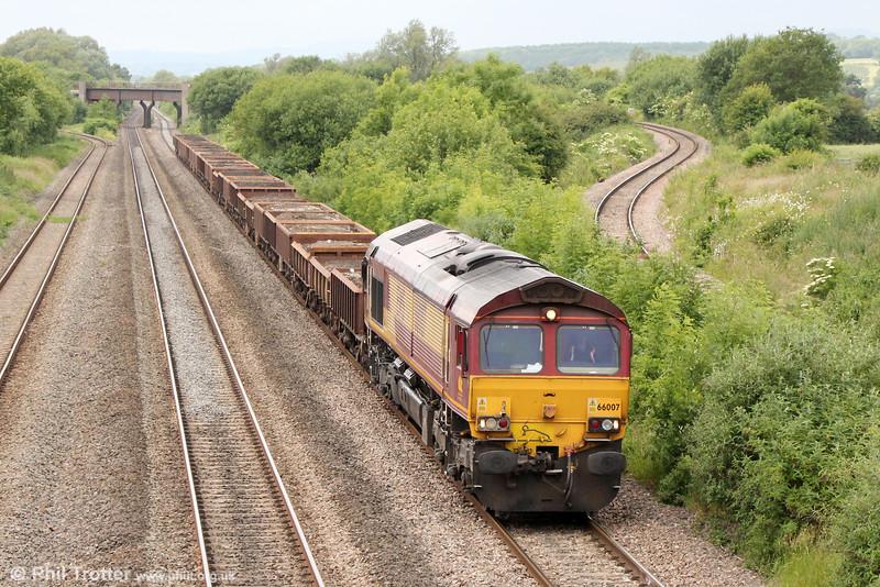 66007 passes Llandevenny with 6W32, 0935 Ystrad Mynach to Westbury on 20th June 2015.