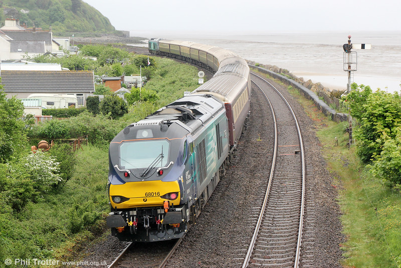 DRS 68016 'Fearless' passes Ferryside at the rear of 5Z30, 1221 Carmarthen to Swansea ECS on 21st May 2016.