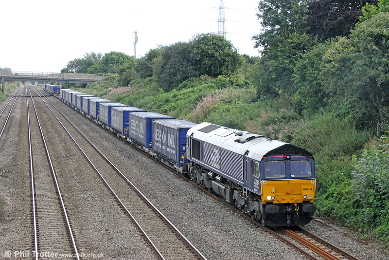 DRS 66434 passes Llandevenny with 4V38 0906 Daventry to Wentloog on 28th August 2016.
