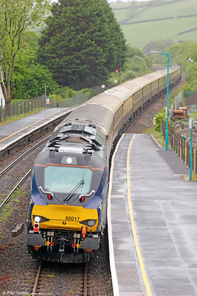 DRS 68017 'Hornet' passes Ferryside with 5Z30, 1221 Carmarthen to Swansea ECS on 21st May 2016.