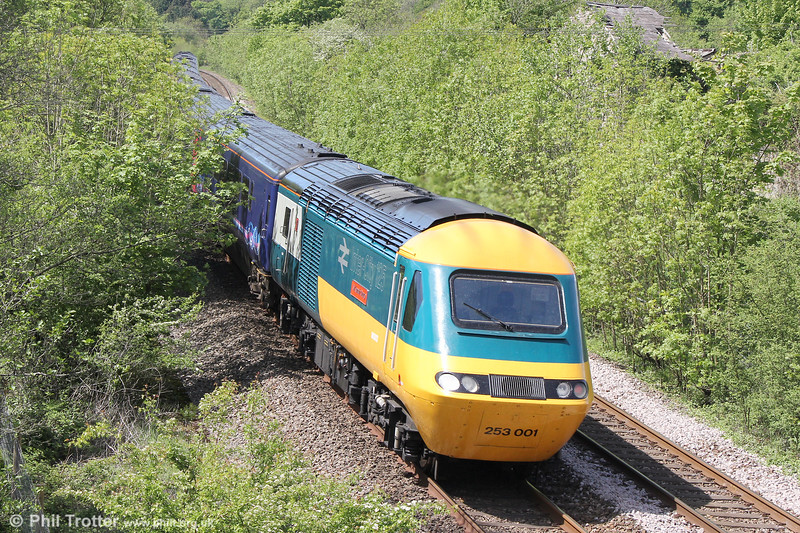 Original liveried 43002 'Sir Kenneth Grange' passes Llangewydd at the rear of 1B25, 1037 London Paddington to Swansea on 22nd May 2016.