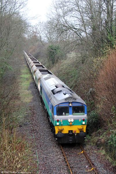 59001 'Yeoman Endeavour' near Rhiwderin with 6C80, 1355 Machen Quarry to Westbury on 6th February 2016.