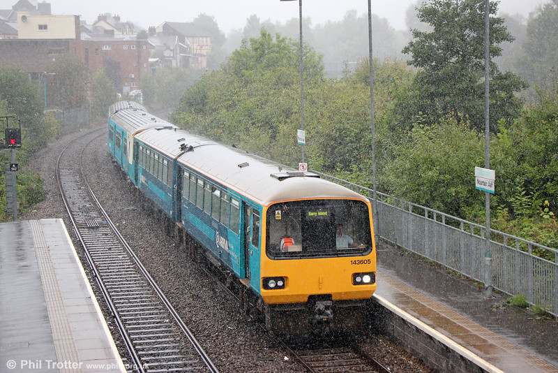 Well there's weather! 143605 calls at Mountain Ash forming 2Y41, 1122 Aberdare to Barry Island on 3rd September 2016.