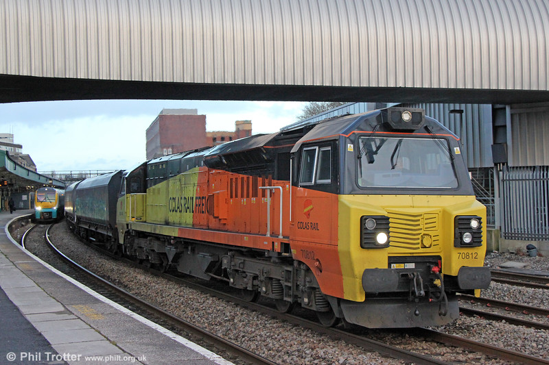 Colas 70812 passes Newport with 6B22, 1432 Avonmouth to Aberthaw PS on 29th December 2017.