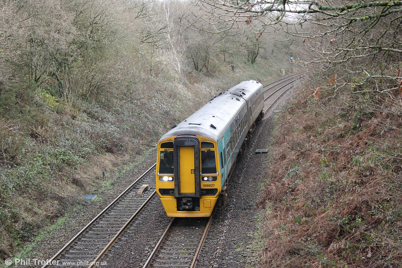 One of the very few passenger services to use the Swansea District Line, 158827 passes Alltygraban forming 1E16, 1205 Cardiff Central to Milford Haven on 31st December 2017.