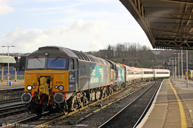 DRS 57303 'Pride of Carlisle' and 37059 at Bristol Temple Meads with 5Z63, 1055 Laira to Crewe L&NWR on 29th December 2017.