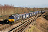 66431 passes Undy with 4V38, 0820 Daventry to Wentloog on 27th December 2017.