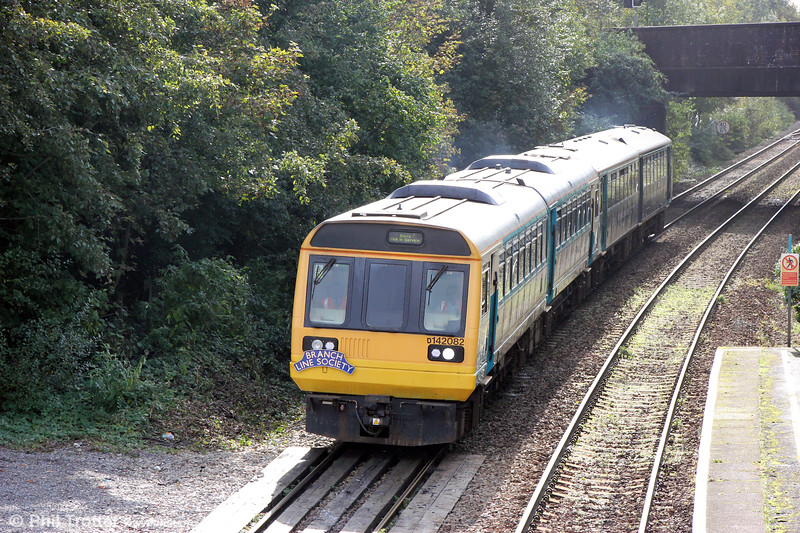On 6th October 2019, the Branch Line Society organised a (somewhat premature) 'Cardiff Valley Pacer Farewell/Farwelio â Phacer Cymoedd Caerdydd' railtour on the Cardiff Valley Lines. Here, 142082 approaches Taffs Well with 1Z41, 0820 Cardiff Central to Pontypridd via Barry, Penarth and Ninian Park. 143605 was at the rear on this leg.