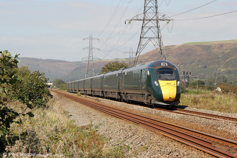 A GWR Class 800/3 passes Margam forming 1L66, 1329 Swansea to London Paddington on 19th September 2019.