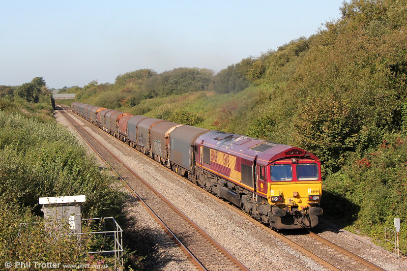 66068 on Stormy Bank with 6M86, 1029 Margam to Dee Marsh on 19th September 2019.