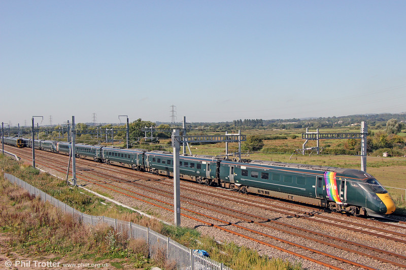800008 'Rainbow' passes Coedkernew leading 1L52, 1029 Swansea to London Paddington on 20th September 2019.
