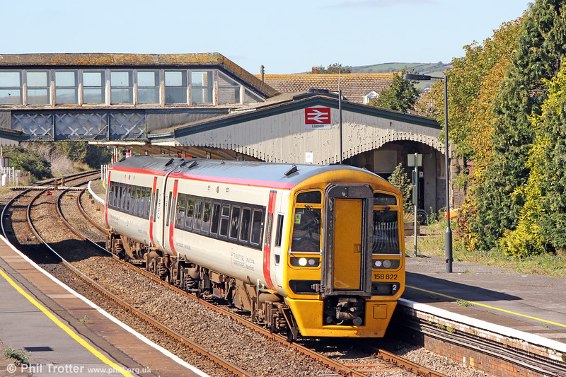 Transport for Wales liveried 158822 departs from Llanelli forming 1W64, 1302 Carmarthen to Manchester Piccadilly on 17th September 2019.