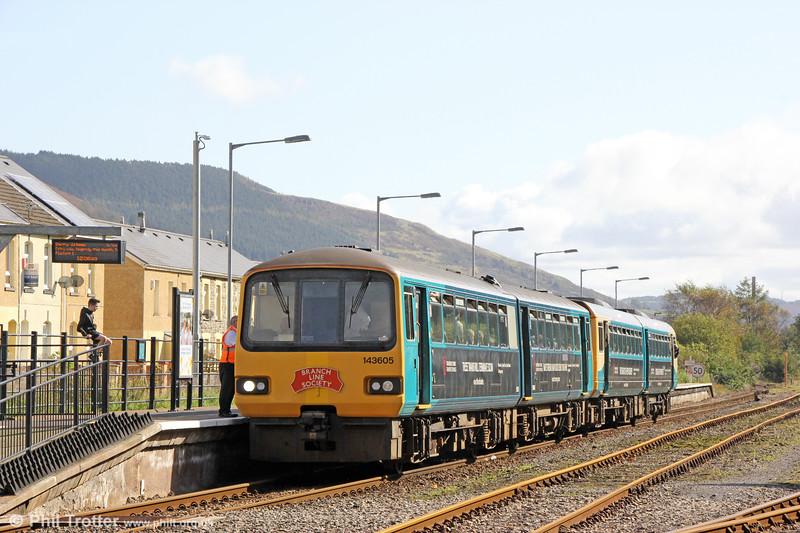 143605 arrives at Treherbert with 1Z42, 1200 Pontypridd to Pontypridd via Treherbert and Aberdare, the Branch Line Society's 'Cardiff Valley Pacer Farewell/Farwelio â Phacer Cymoedd Caerdydd' railtour of 6th October 2019.